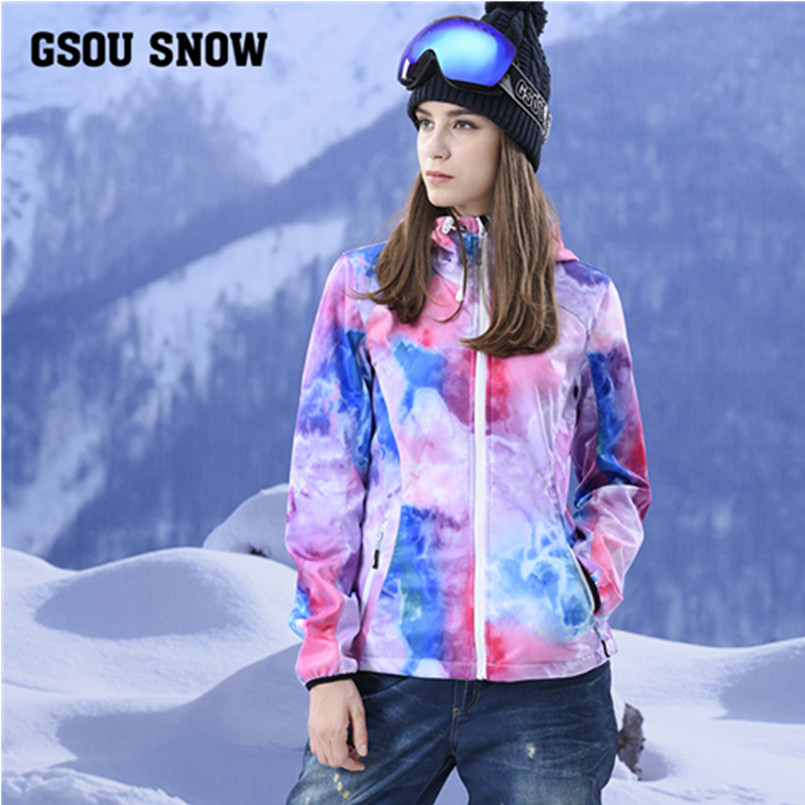 Gsou Snow brand fleece softshell jacket women waterproof outdoor hiking jacket climbing thermal female windbreaker veste 2017 new brand fleece softshell jacket women outdoor climbing hiking sport jacket women windbreaker thermal waterproof jacket