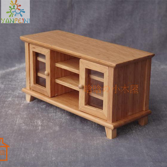 Exceptionnel 1:12 Dollhouse Diy Cabin Mini Furniture Model Scene Double Side Cabinet TV  Cabinet