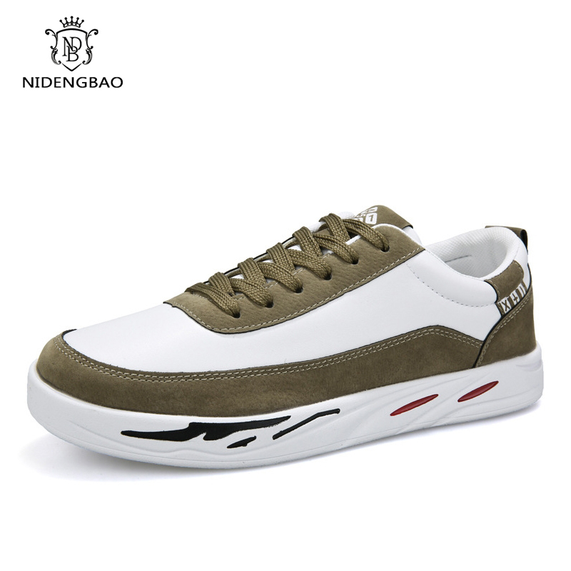 Men Casual Shoes New Spring Comfortable Lace up Sneakers Shoes Men Flat Loafers Zapatos Hombre Black White Flat Male Footwear 6