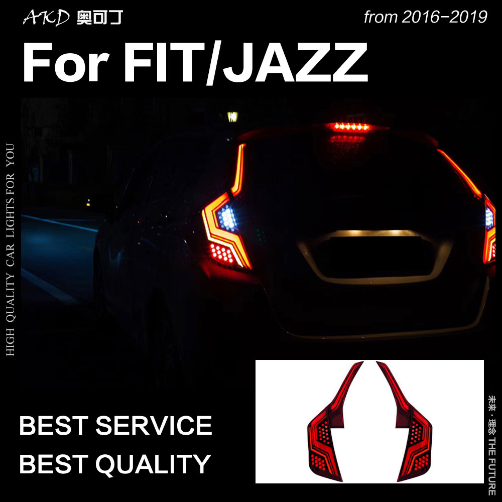 AKD Car Styling for Fit Tail Lights 2014 2018 Jazz LED Tail Lamp LED Rear Lamp