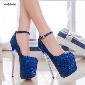 Image 4 - LLXF zapatos Plus: 34 41 42 43 veste Locale Notturno Sexy 19 centimetri scarpe col tacco alto paillette Scarpe donna Tacco A Spillo femminile Fibbia Pompe