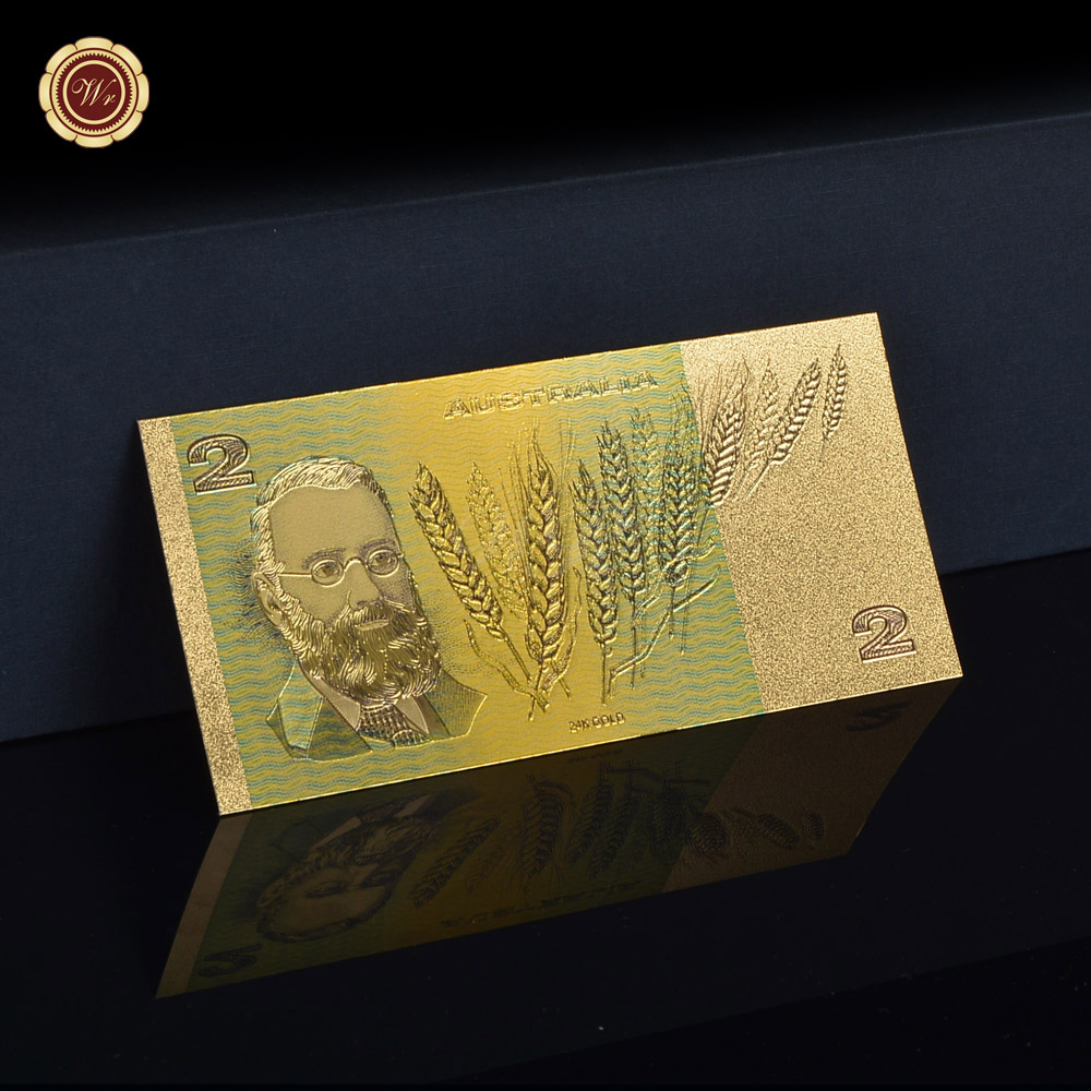 WR Gold Decorations Australian Gold Banknote AUD 2 Colorful 24k Gold Plated Paper Money Home Decoration Gifts Original Size