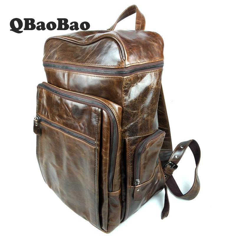 Real Genuine Leather Vintage Backpack Men School Backpack Male Daily Bag Fashion Leisure Men's Travel Bags Backpacks real genuine leather vintage backpack men school male daily backpack coffee gray fashion leisure men s travel bags vp j7280