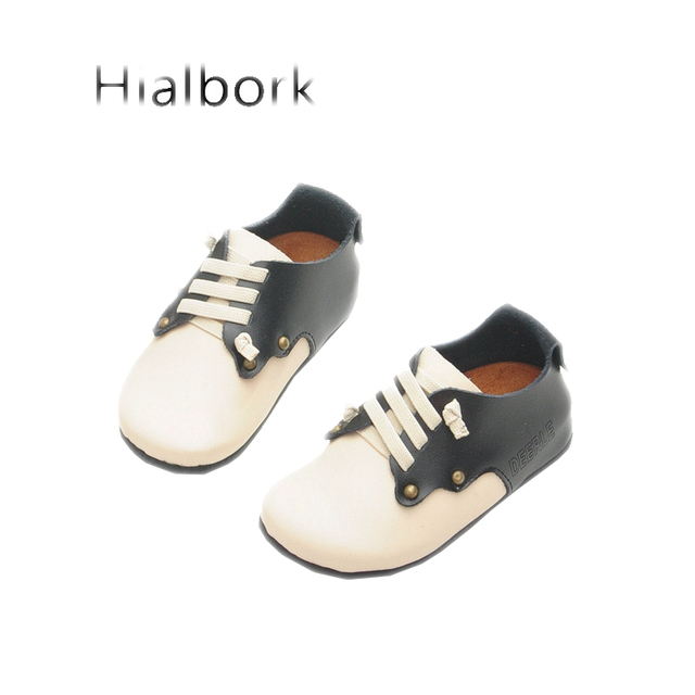 2017 spring new boys and girls leather breathable leather shoes soft bottom leather wear anti-skid leisure baby leather shoes