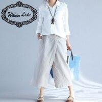 Wide Leg Pants Women White Cotton Linen Pants Plus Size Long Casual Solid Harem Loose Summer