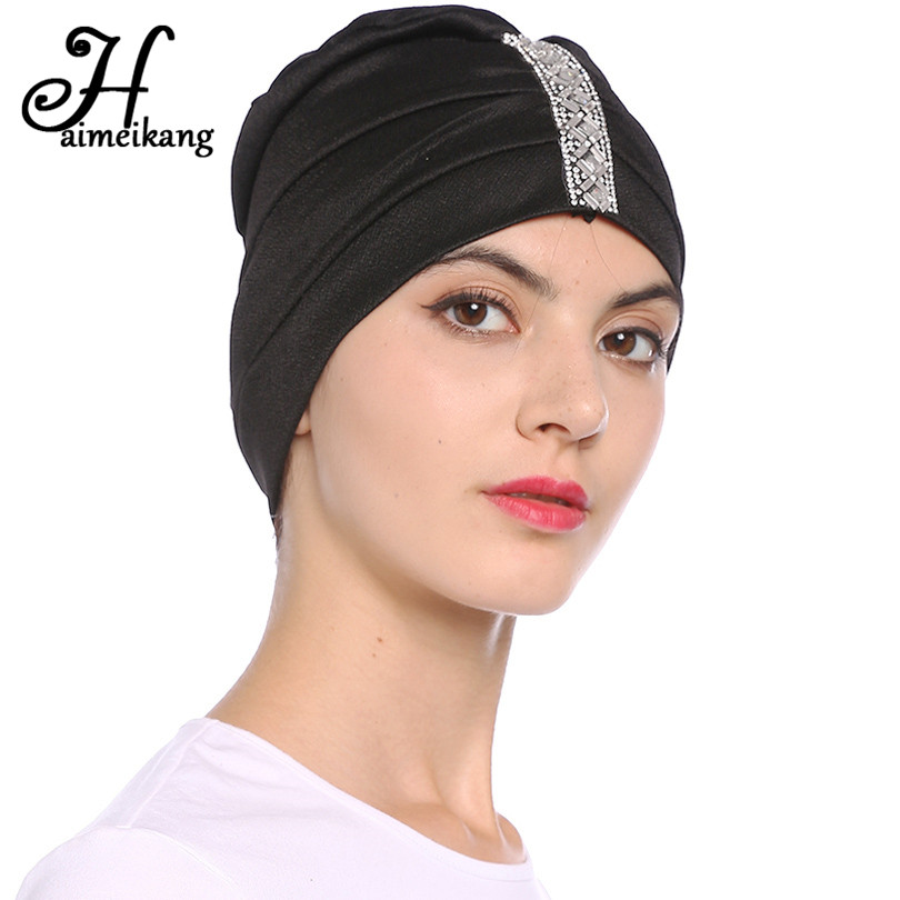 Haimeikang Womens Winter Hat Rhinestones Turban Hats For -4539