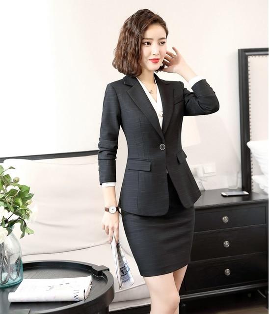 High Quality Formal Ladies Black Blazers Women Elegant Skirt Suits Jacket  Sets Work Wear Office Uniform Designs 791d18fd8