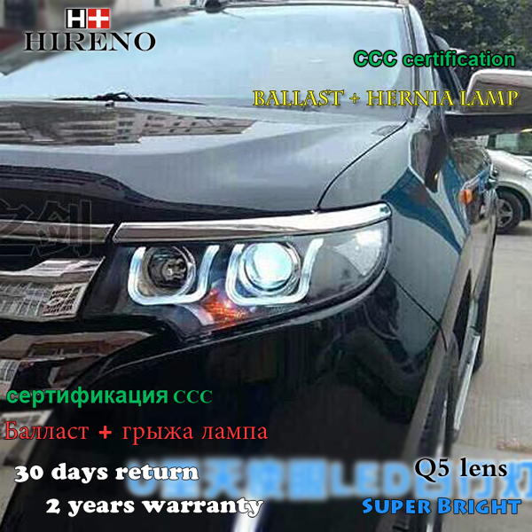 Hireno Car Styling Headlamp For   Ford Edge Headlight Assembly Led Drl Angel Lens Double Beam Hid Xenon Pcs