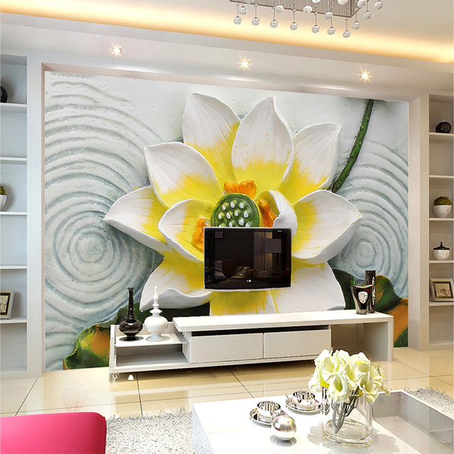 Custom Photo Wall Paper 3D Stereoscopic Lotus Relief Backdrop Living ...