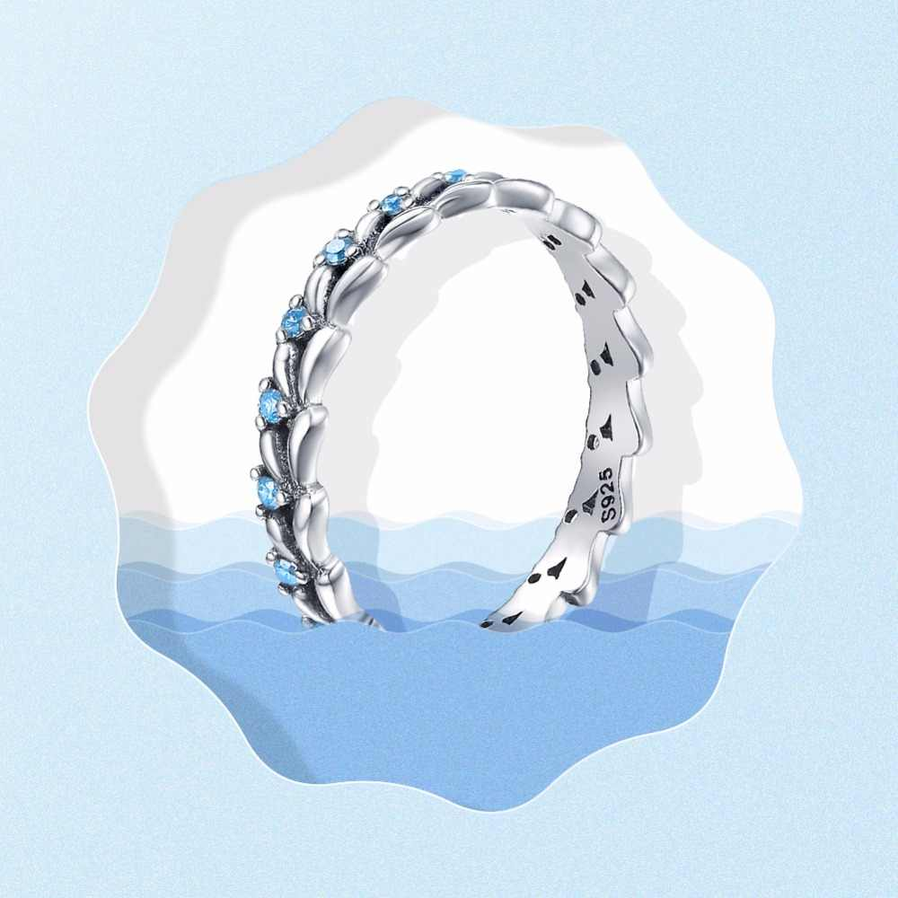 BAMOER แท้ 100% 925 เงินสเตอร์ลิงแหวนข้าวสาลี WAVE & Clear CZ แหวนเงินสเตอร์ลิงเงิน SCR162