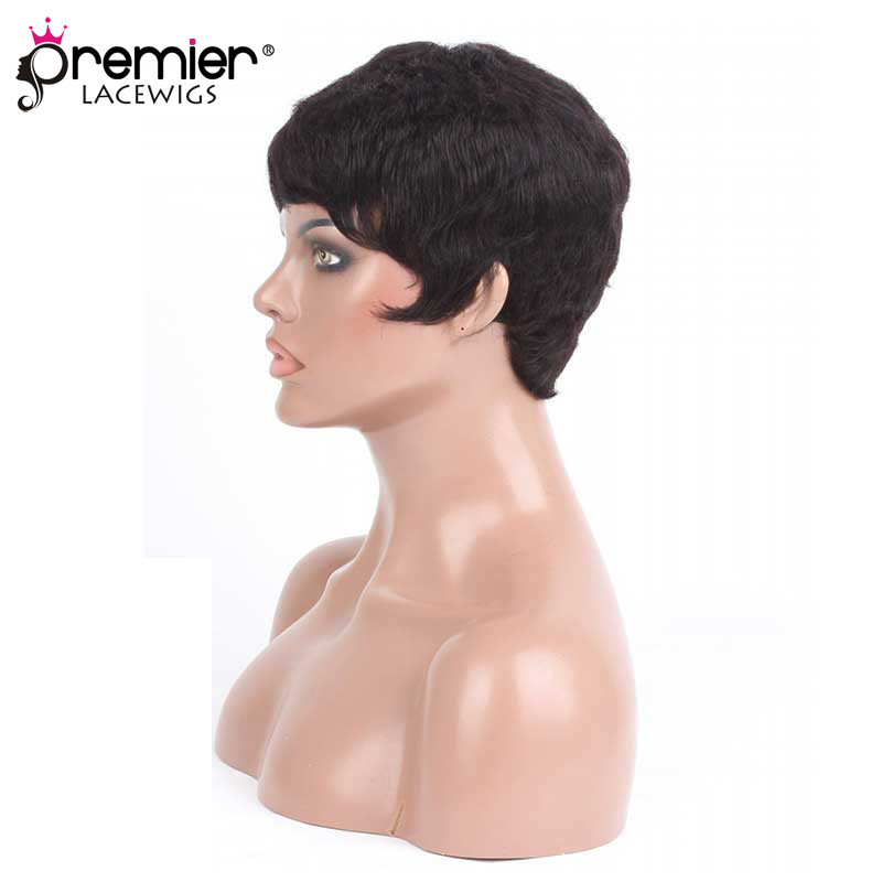 PREMIER LACE WIGS Short Style 1B# Color Indian Remy Hair Machine Made Glueless Cap Wigs [PWHH-13-1001]