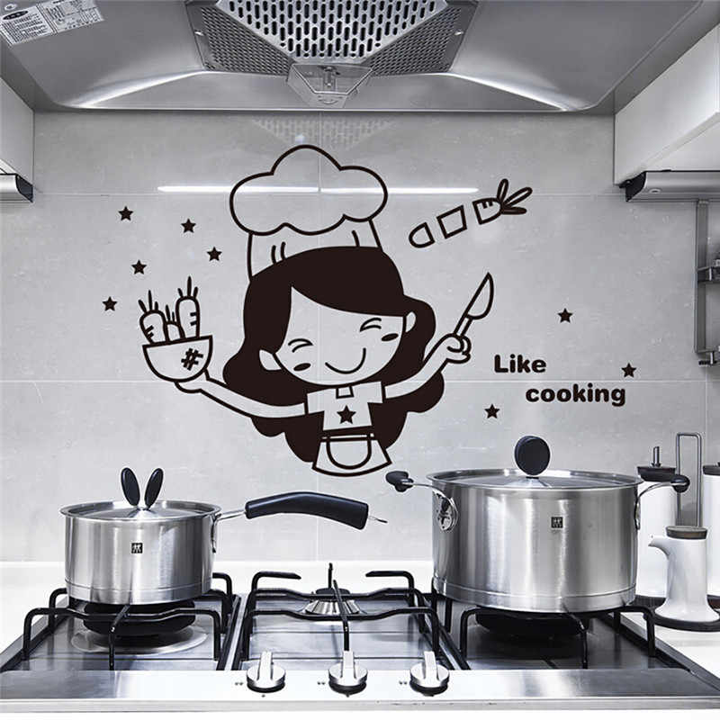 Wall Stickers Fridge Stickers Wardrobe Decoration PVC Wall Decals/Adhesive Kitchen Light Switch Sticker Cook Vinyl Wall Decal