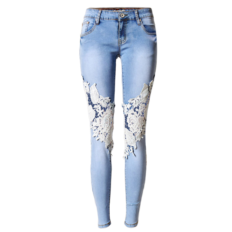 Plus Size Lace Hollow Out Women Stretch Jeans Embroidery -5766