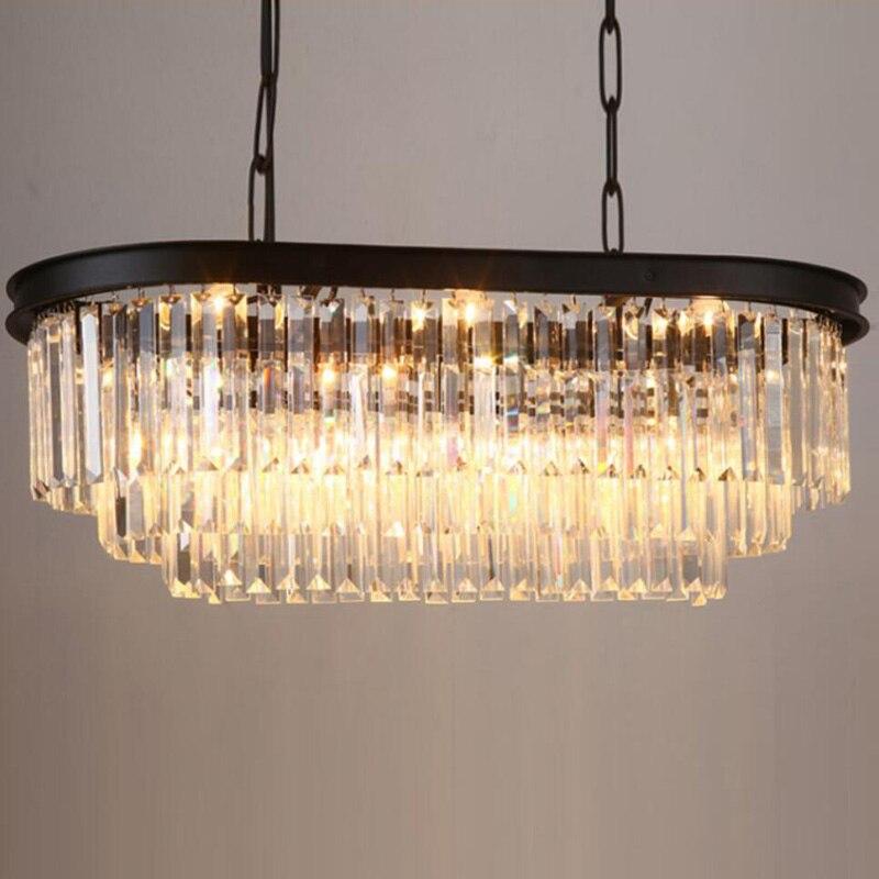 Stadium oval RH American retro vintage hanging chain pendant light lamp LED dinning room crystal glass