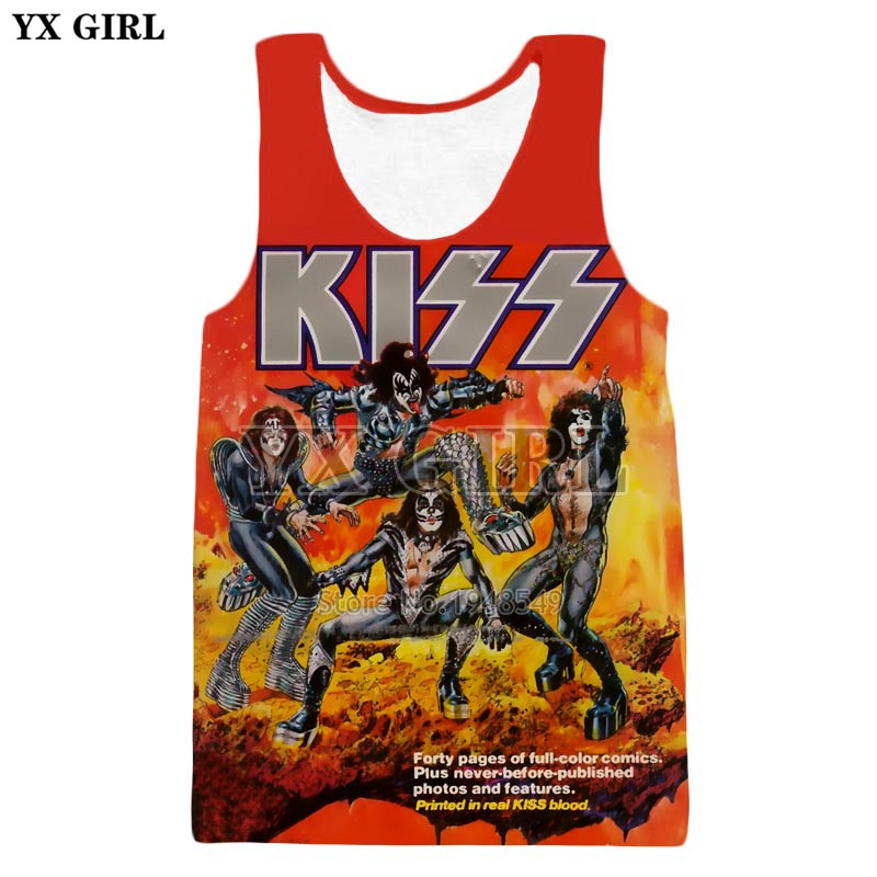 YX GIRL Drop shipping 2018 Most popular Fashion vest Kiss band 3D Print Hip hop Men's women's Casual   Tank     tops   ZV260