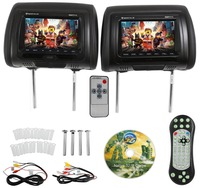 7 inches Black Car DVD/USB/HDMI Car Headrest Monitors with IR Transmitter Internal Speakers Video Games FM
