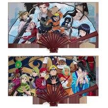 8/27cm Anime Naruto Uzumaki & Sasuke Bamboo&Tough Paper Folding Hand Fan for Costume Props