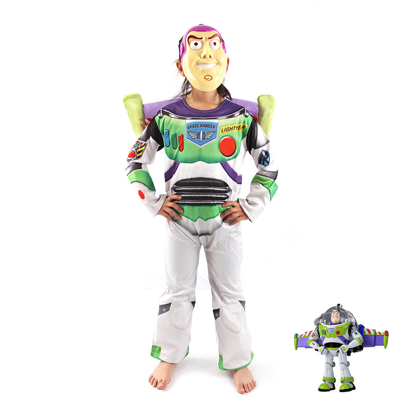 Hot Sale Boys Toy Story Buzz Lightyear Costume For Halloween Costume Deluxe Children Fancy Dress Costume