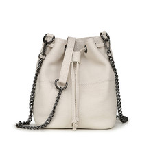 hot deal buy 2018 new fashion cow leather bucket bags women shoulder bags ladies chain drawstring crossbody bags messenger bags