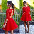 simple red cocktail dresses 2017 half sleeve lace knee lenght girl stain coctail gown for formal prom party vestido de festa