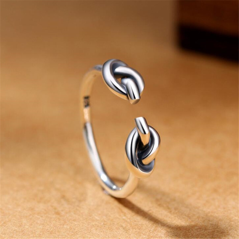 Fashion Love Heart Knot Tie Ring 925 Sterling Silver Adjustable Rings For Women Girl Gifts Creative Vintage Fine Jewelry R236