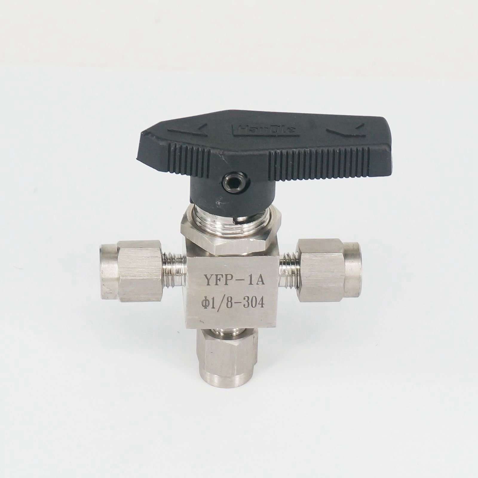 304 Stainless steel Tee 3 Ways Compression fitting shut off Ball Valve 915 PSI PN 6.4 Fit For 1/8