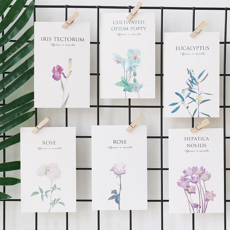 30 Pcs/set Cute Leaf Plant Flower Design Note Card Beautiful Postcard Message Greating Card School Office Gift