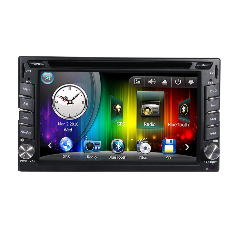 Wince 6.0 Universal 2 Din Car DVD Player GPS navigation with 6.2 inch Touch Screen RDS Bluetooth Steering Wheel ultra thin 7 touch screen lcd wince 6 0 gps navigator w fm internal 4gb america map light blue