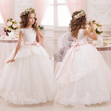 Princess Ball Gown White Lace Flower Girls Dresses For Weddings Tulle Belt Bow Knot Custom First Communion Dress Birthday