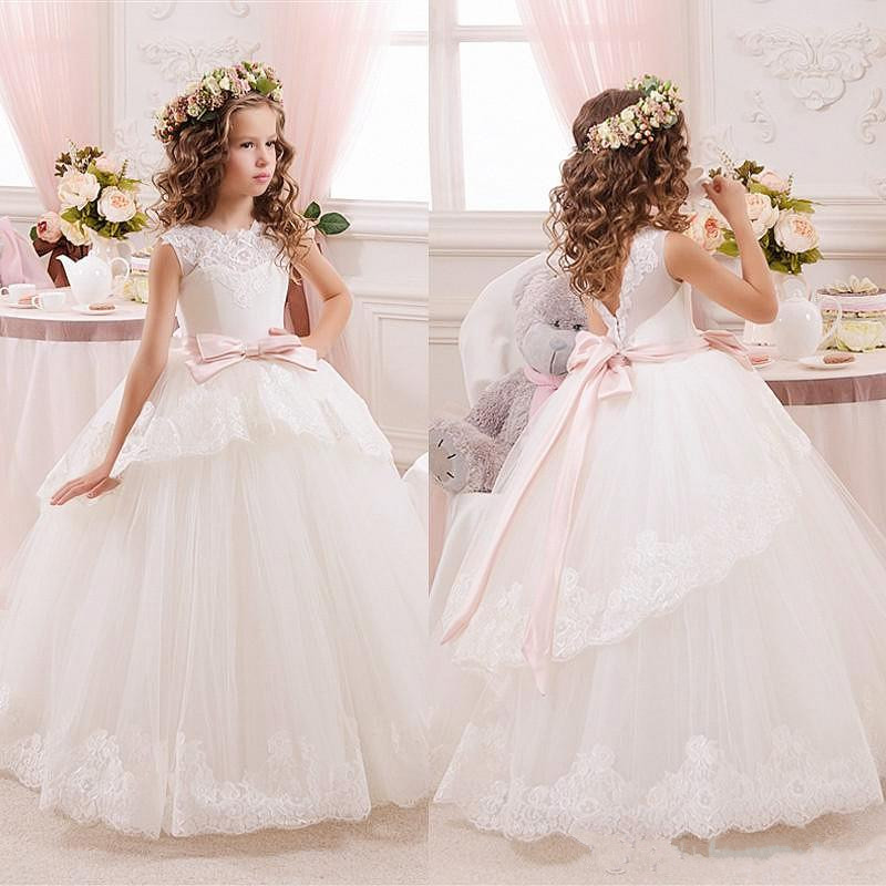 Princess Ball Gown White Lace   Flower     Girls     Dresses   For Weddings Tulle Belt Bow Knot Custom First Communion   Dress   Birthday Gown