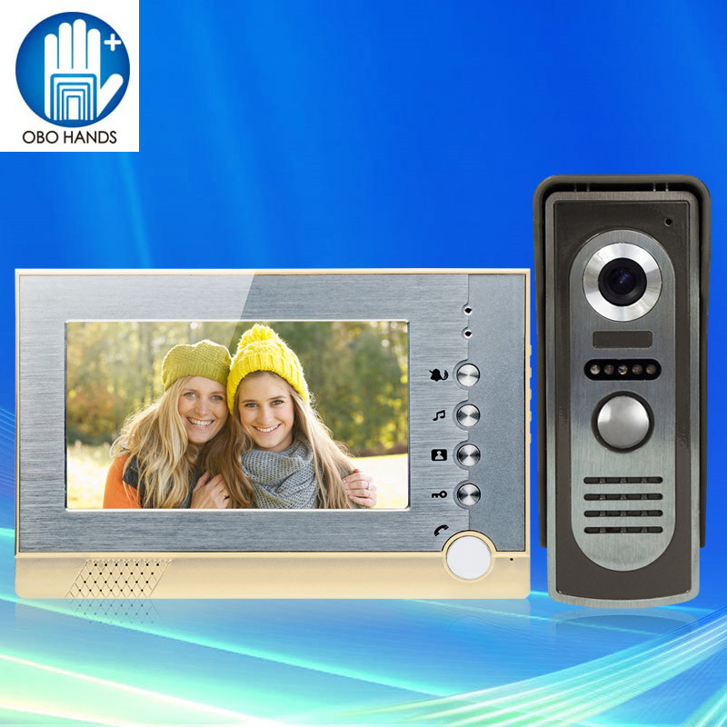 New 7 inch Color Screen Video Doorphone Sperakerphone Intercom System Kit 1 Outdoor Monitor + 700TVL COMS Indoor Camera original 7 inch touch screen dahua dh vth1550ch color monitor with to2000a outdoor ip metal villa outdoor video intercom system