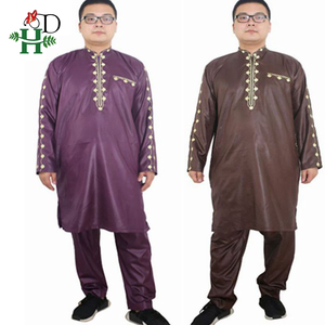 Image 2 - H&D african dresses for men Dashiki mens african clothing bazin outfit male tops pant suits 2 pcs Long Sleeves Shirt Plus size