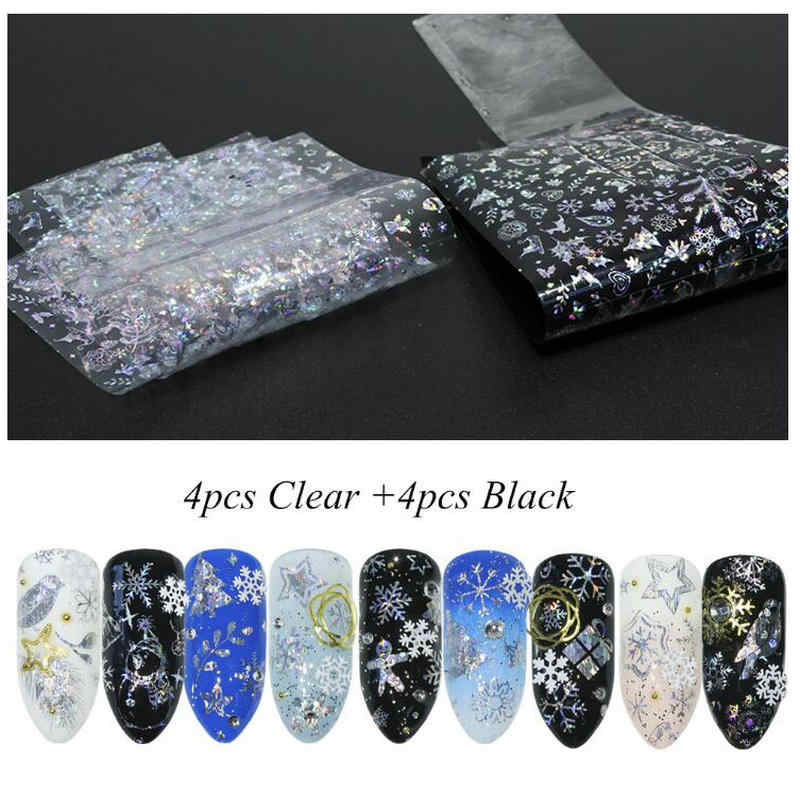 8pcs DIY Decorations Resin Jewelry Laser Sticker Stuff Xmas Bell Snowflakes Clear Black Stickers Nail Art Film Paillette Flakes