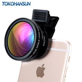 TOKOHANSUN New HD 0.45x Super Wide Angle Lens + 12.5x Super Macro Lens for iPhone 7 8 Plus Samsung Huawei Xiaomi Camera lens Kit