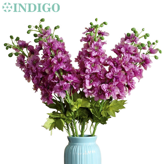 Indigo wholesale 100pcs purple delphinium fake flower artificial indigo wholesale 100pcs purple delphinium fake flower artificial silk flowers wedding flower home banquet blossom mightylinksfo