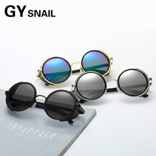 GYSnail fashion Men Gothic Steampunk Sunglasses Women Brand Design Round Oculos UV400 Metal trend personality round frame