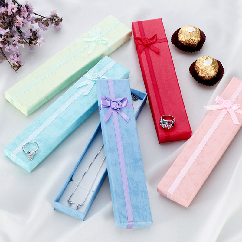 5Pcs/lot Jewellery Display Long Gift Boxes with Bow for Necklace/Bracelet/Watch Case