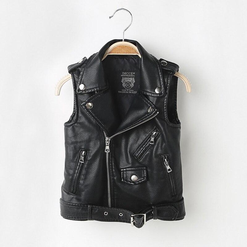 Brand Children's Vest Faux Leather Vest Coat Advanced PU Imitation Leather Waistcoats Fashion Zipper Kids Vest For Boy 3-11 Yrs
