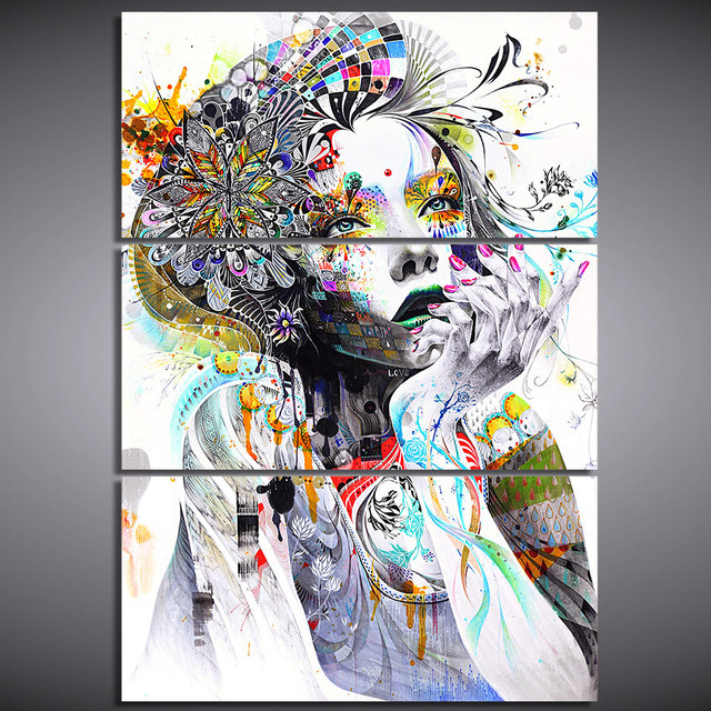 Hd Spray Print 3 Piece Canvas Art Abstract Watercolor Face Flower Hair Painting Wall Pictures Living Room Cu-2930c