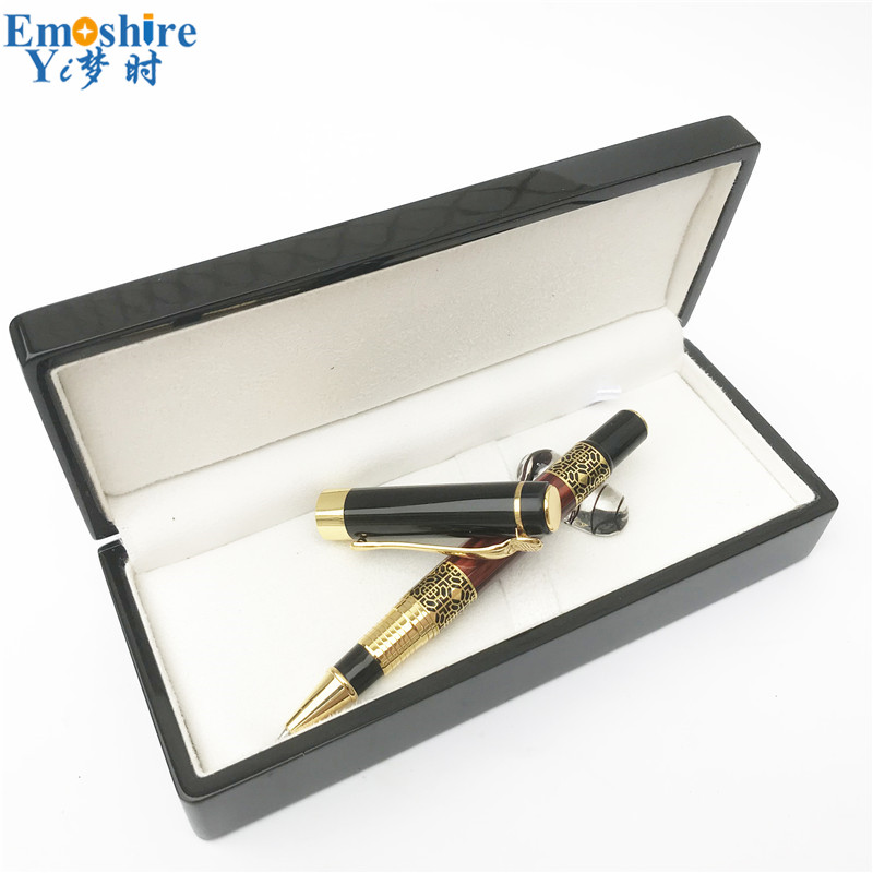 Dropshipping Wholesale Birthday Present Set Luxury Golden Pattern Retro Ballpoint Gift Set Wooden Box Roller Ball Pen Man P630