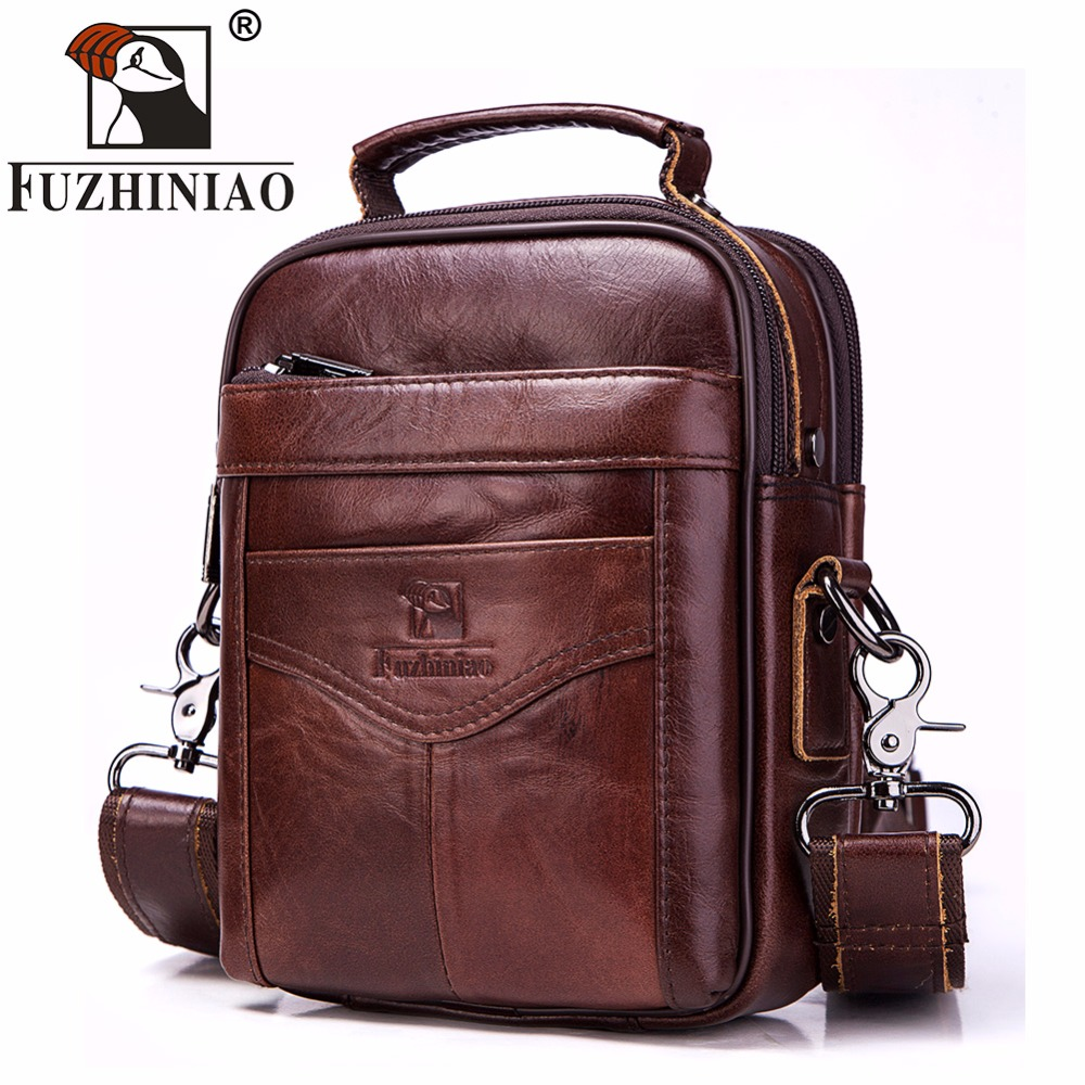 FUZHINIAO New Brand 2018 Male Bag Genuine Leather Shoulder Men's Bag High Quality Zipper Small Cowskin Casual Messenger Men Bags dongfang miracle high quality genuine leather men messenger bags casual shoulder bag male multifuntional small bag