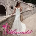 Vestido De Noiva De Renda Sereia Applique Branco Vestidos de Casamento 2016 Lace Cap Mangas Vestido de Noiva Robe De Mariage