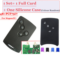 (1 pcs ) 4 Button smart card with pcf7952 433mhz for Renault Megane III LagunaIII Smart Card With Protect Case Free