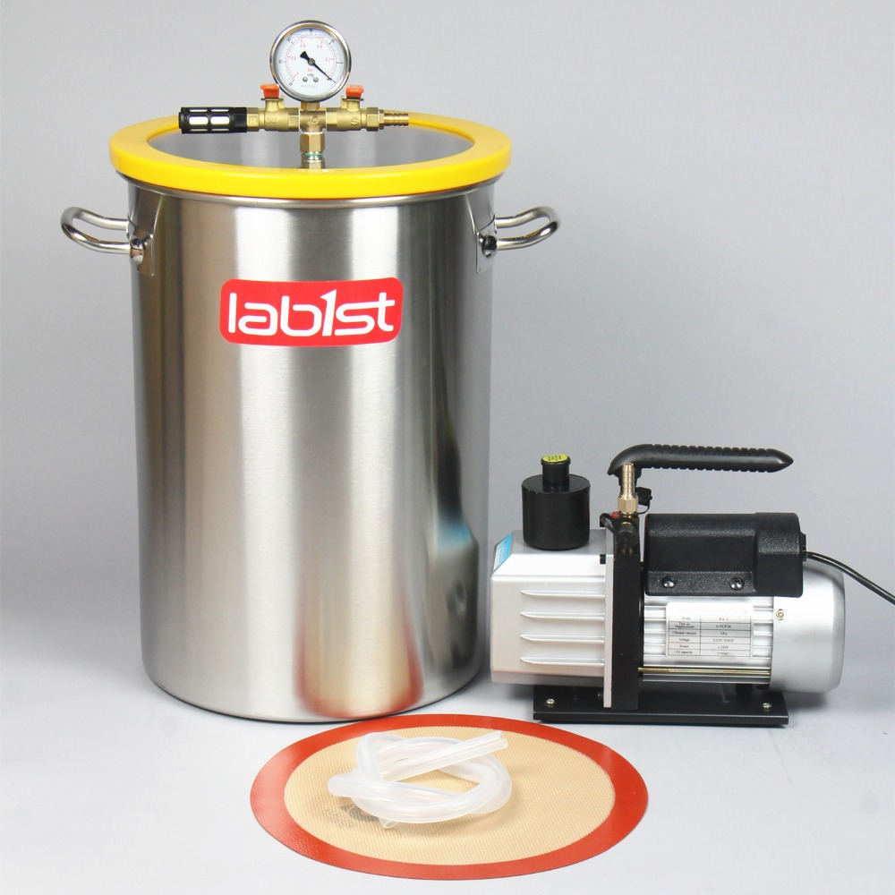 8.4 Gallon (31.8Liter) Chamber + 6CFM (2.7 L/s) 220V Vacuum Pump Kit,300mm X 450mm Stainless Steel Vacuum Degassing Chamber