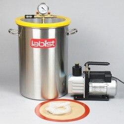 8.4 Gallon (31.8Liter) Chamber + 6CFM (2.7 L/s) 220V Vacuum Pump Kit,300mm x 450mm Stainless Steel Vacuum Degassing Chamber