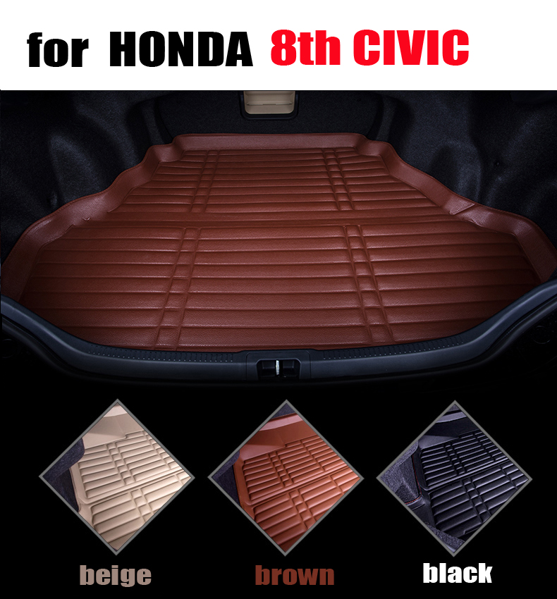 car trunk liner for Honda 8th CIVIC 2005-2010 leather trunk pad cargo liner all weather car mats cargo mats auto accessories car rear trunk security shield cargo cover for volkswagen vw tiguan 2016 2017 2018 high qualit black beige auto accessories