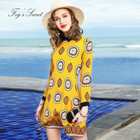 Large Size Loose Dress For Female Imitation Silk Dresses For Women Long Sleeve Print Yellow Young