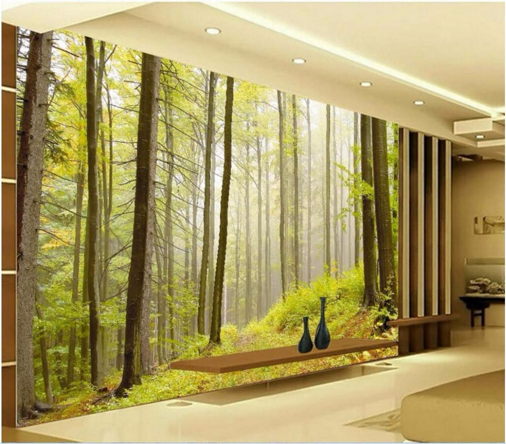 Custom mural picture 3d room wallpaper nature forest for Wall to wall wallpaper