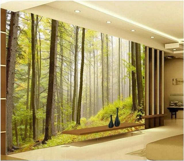 Personalizado mural 3d papel pintado naturaleza bosque for Papel pintado personalizado