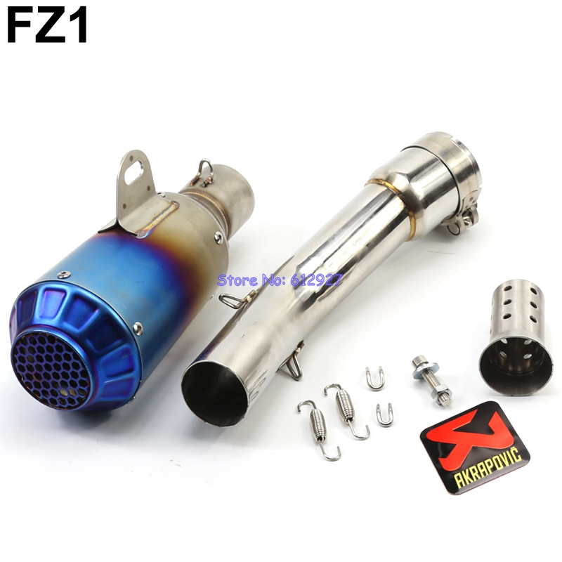 Motorcycle for Yamaha FZ1 FZ1N FZ1000 Exhaust Pipe System Slip On Akrapovic Exhaust Muffler Escape and Connect Mid Pipe